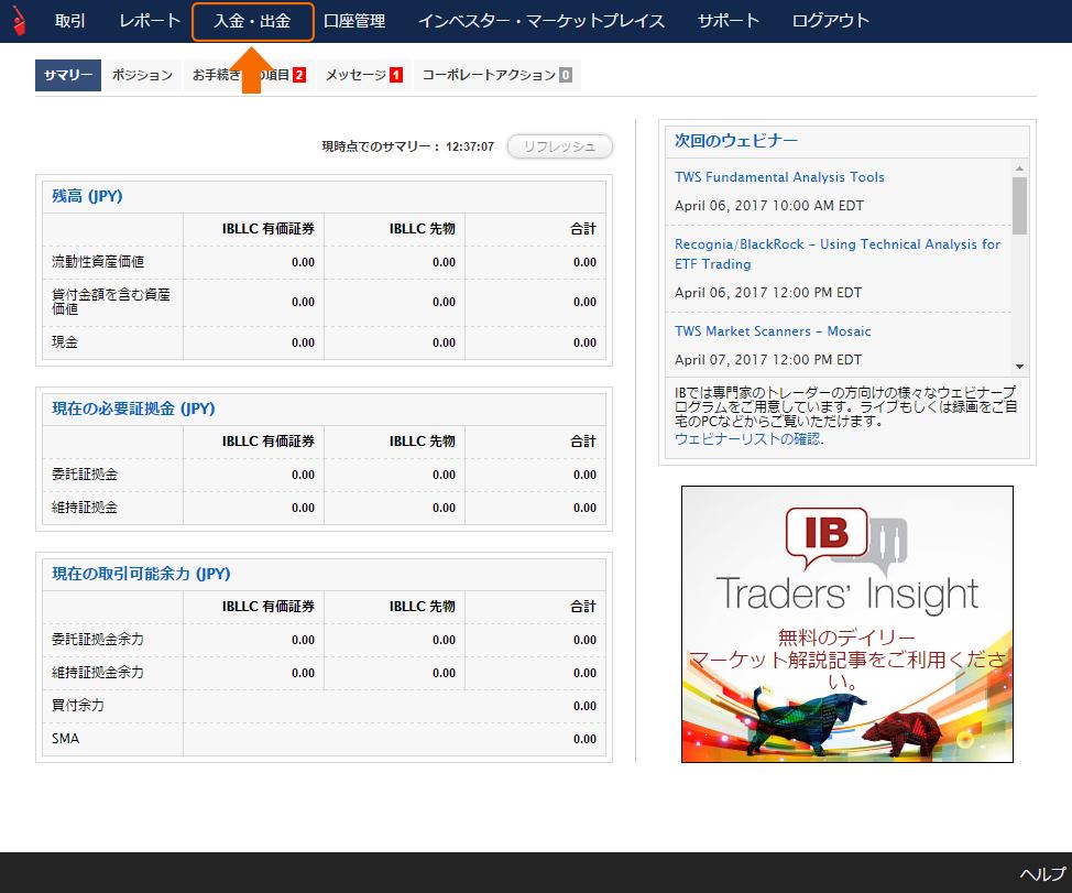 インタラクティブ・ブローカーズ証券(IB証券)口座への入金